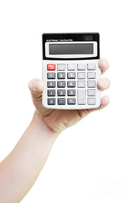 Male Hand Holding Calculator Print by Jorgo Photography - Wall Art Gallery