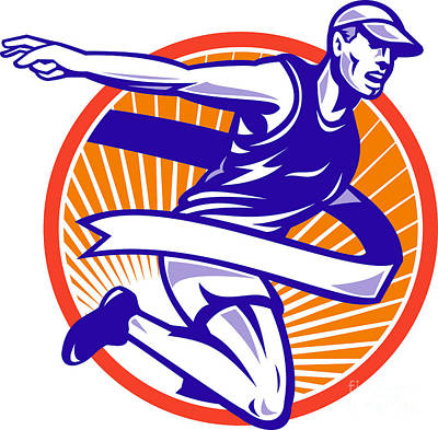Woodcut Digital Art - Male Marathon Runner Running Retro Woodcut by Aloysius Patrimonio