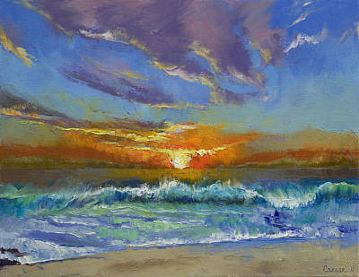 Malibu Painting - Malibu Beach Sunset by Michael Creese
