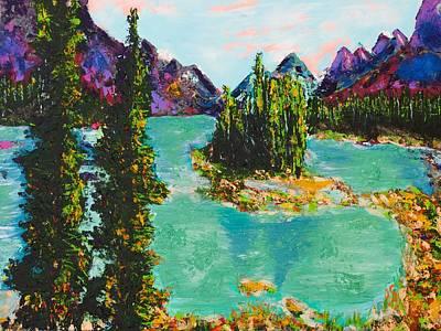 Maligne Lake Jasper Alberta Mountain Print by Joyce Sherwin