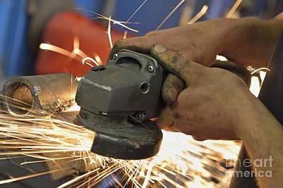 Man Cutting Steel With Grinder Print by Sami Sarkis