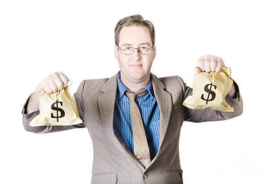 Man Holding Money Bags On White Background Print by Jorgo Photography - Wall Art Gallery