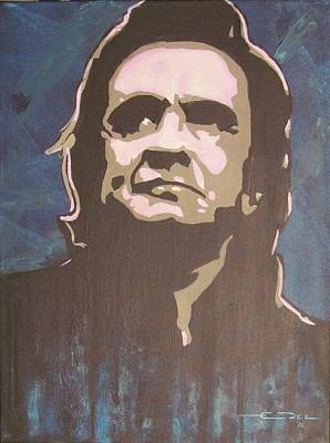 Johnny Cash Drawing - Man In Black And Blue by Eric Dee