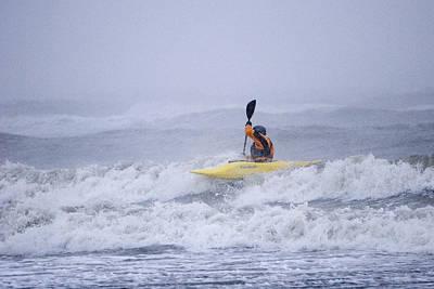 Man Kayak Surfing In Winter Storm Surf Print by Scott Dickerson