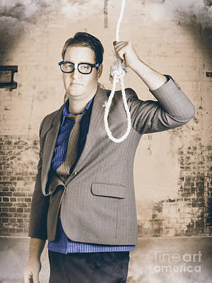 Manager Business Man Holding Noose Rope At Gallows Print by Jorgo Photography - Wall Art Gallery