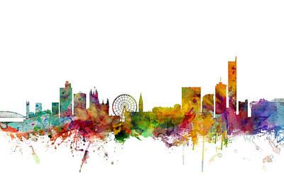 Manchester Digital Art - Manchester England Skyline by Michael Tompsett