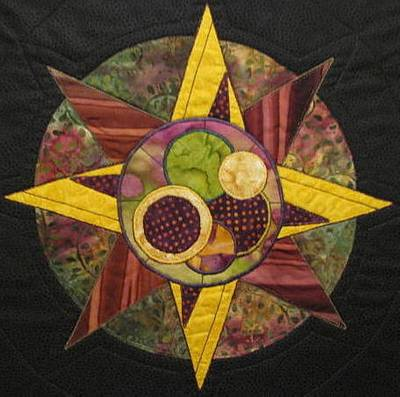 Art Quilts Tapestries - Textiles Tapestry - Textile - Mandala No 4 Compass Rose by Lynda K Boardman