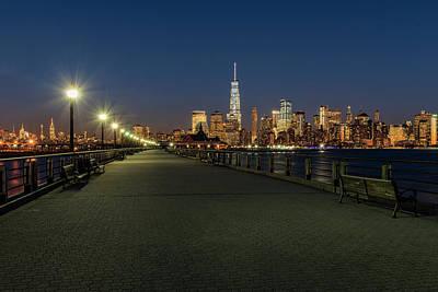 Manhattan Skyline At Twilight, Liberty Print by F. M. Kearney