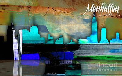 Apples Mixed Media - Manhattan Skyline Watercolor by Marvin Blaine