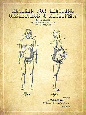 Pregnancy Drawing - Manikin For Teaching Obstetrics And Midwifery Patent From 1951 - by Aged Pixel