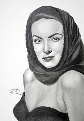 Alvarez Drawing - Maria Felix by Enrique Garcia