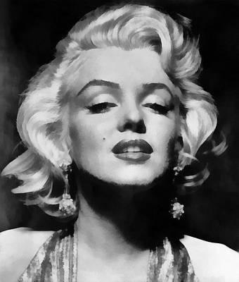 Marilyn Monroe - Black And White  Print by Georgia Fowler