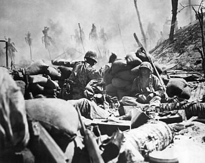 Crouched Photograph - Marines Fight At Tarawa by Underwood Archives