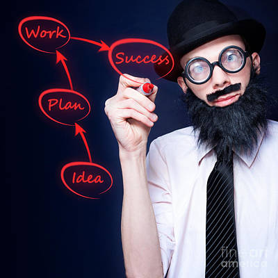 Marketing Business Man Drawing Success Diagram Print by Jorgo Photography - Wall Art Gallery