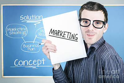Marketing Man Displaying Business Plan For Success Print by Jorgo Photography - Wall Art Gallery
