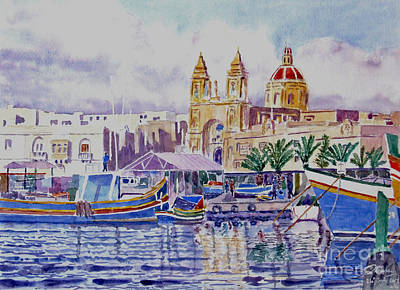 Marsaxlokk Painting - Marsaxlokk Malta by Godwin Cassar