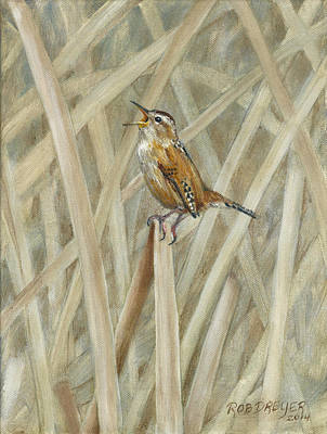Wren Painting - Marsh Melody by Rob Dreyer AFC