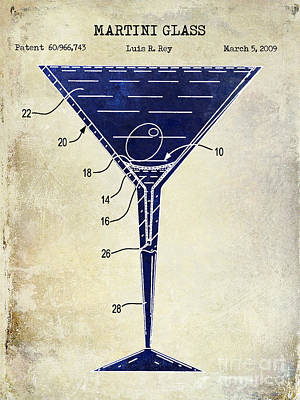 Martini Glass Patent Drawing Two Tone  Print by Jon Neidert