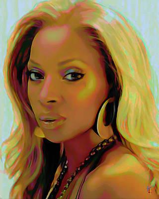 Rap Digital Art - Mary J Blige by  Fli Art