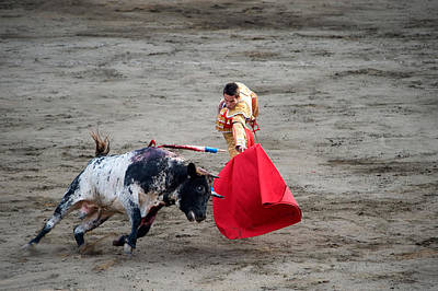 Young Man Photograph - Matador And A Bull In A Bullring, Lima by Panoramic Images