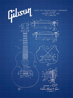 Smallmouth Bass Digital Art - Mccarty Gibson Stringed Instrument Patent Drawing From 1969 - Bl by Aged Pixel