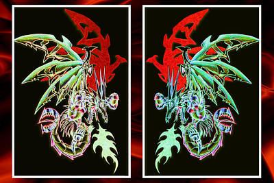 Mech Dragons Pastel Print by Shawn Dall
