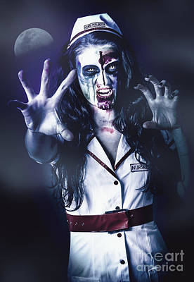 Manic Photograph - Medical Zombie Looking To Kill At Dead Of Night by Jorgo Photography - Wall Art Gallery