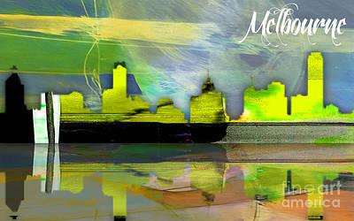 Melbourne Australia Skyline Watercolor Print by Marvin Blaine