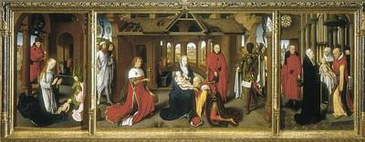 Memling, Hans 1433-1494. Triptych Print by Everett