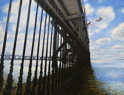 Diving Board Painting - Memories Of Brighton-le-sands Baths by Jon Falkenmire