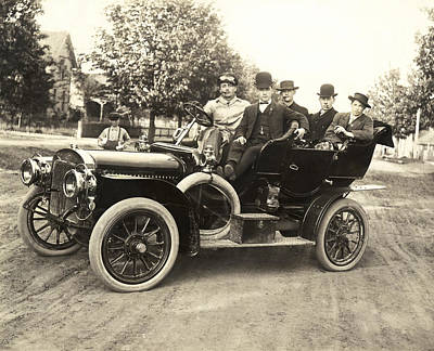 Men In An Early Auto Print by Underwood Archives