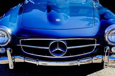 Car Photograph - Mercedes-benz 190sl Grille Emblem by Jill Reger