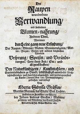 Book Title Photograph - Merian's 'metamorphosis' (1683) by Paul D Stewart