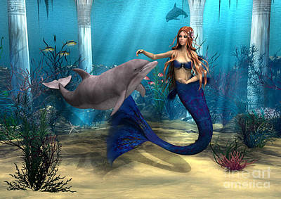 Mermaid And Dolphin Print by Design Windmill
