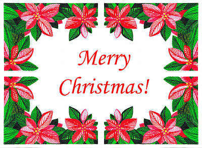 Poinsettia Painting - Merry Christmas by Irina Sztukowski