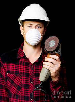 Metal Fabrication Workman With Rotary Disc Sander Print by Jorgo Photography - Wall Art Gallery