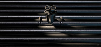 Metal Shutoff Valve And Pipes Print by Allan Swart
