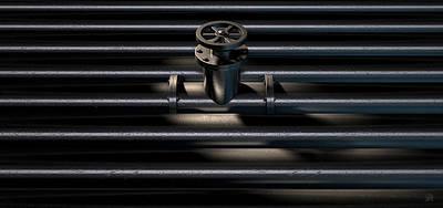 Faucet Digital Art - Metal Shutoff Valve And Pipes by Allan Swart