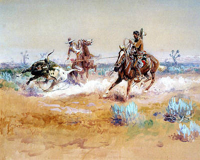 Working Cowboy Digital Art - Mexico by Charles Russell