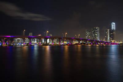 Beach Photograph - Miami Night Skyline by Andres Leon