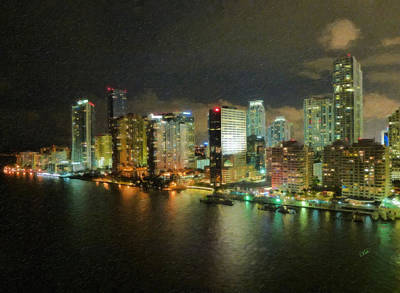 Miami Skyline Painting - Miami Skyline At Night by Dean Wittle