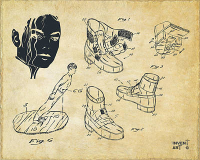Michael Jackson Anti-gravity Shoe Patent Artwork Vintage Print by Nikki Marie Smith