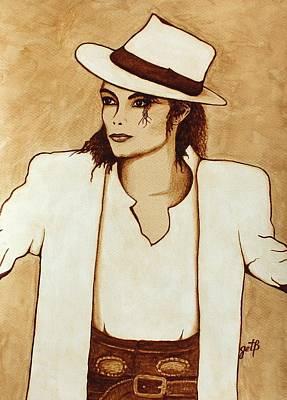King Of Pop. Dancer Painting - Michael Jackson Original Coffee Painting by Georgeta  Blanaru