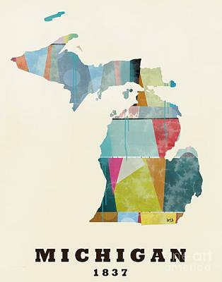 World Map Poster Painting - Michigan State Map Modern by Bri B