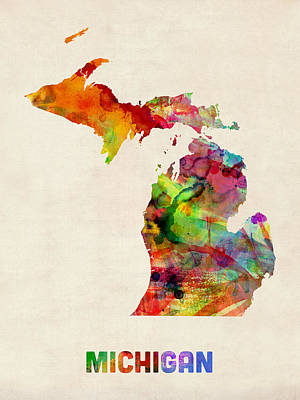 Michigan Watercolor Map Print by Michael Tompsett