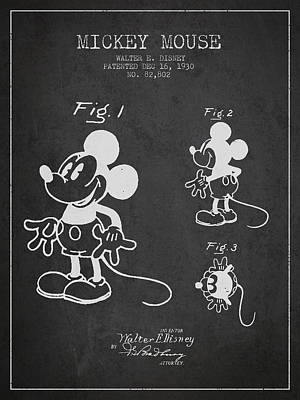 Mouse Drawing - Mickey Mouse Patent Drawing From 1930 by Aged Pixel