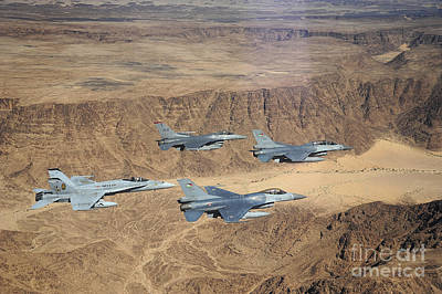 Military Planes Flying Over The Wadi Print by Stocktrek Images
