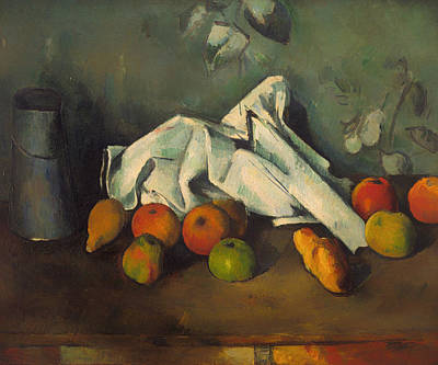 Paul Cezanne Painting - Milk Can And Apples by Paul Cezanne