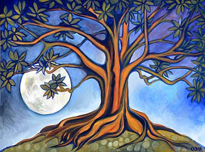 Tree Roots Painting - Milk Moon Rising by Cedar Lee