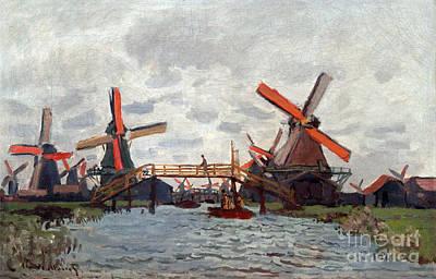Mills At Westzijderveld Near Zaandam Print by Claude Monet
